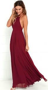 wine colored maxi dress burgundy bridesmaid dress burgundy