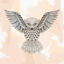 Patterned Flying Owl Drawing Illustration Zentangle Vector Owl In Style Ornamental Tribal