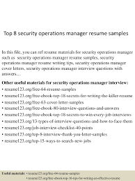 leadership resume examples top8securityoperationsmanagerresumesamples 150515013534 lva1 app6892 thumbnail 4 jpg cb 1431653784