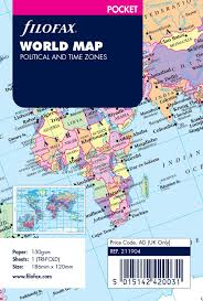 World Time Zones Map Amazon Com Filofax R World Map Political And Time Zones