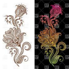 indian ethnic tracery mehndi style ornamental flower for