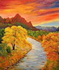 autumn sunset at zion national park painting by connie tom