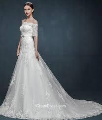 vintage off the shoulder half sleeves lace winter wedding dress