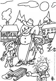 snowman skiing santa coloring pages hellokids