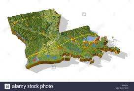 louisiana map areas louisiana 3d relief map cutout with areas and interstate