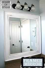 How To Build A Frame Around A Bathroom Mirror Add Trim To Bathroom Mirror Ideas Wood Around Edge Diy Frame