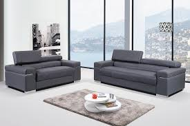 Modern Loveseat Sofa Modern Grey Italian Leather Sofa Set With Adjustable Headrest