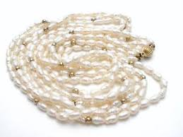 pearls necklace ebay images Freshwater pearl necklace 14k gold beads clasp 25 quot multi strand jpg