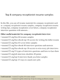 Receptionist Resume Example by Top8companyreceptionistresumesamples 150730021629 Lva1 App6892 Thumbnail 4 Jpg Cb U003d1438222645