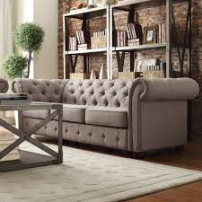 Linen Chesterfield Sofa Tribecca Home Knightsbridge Grey Linen Tufted Scroll Arm