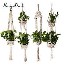 hanging planter basket magideal 4 legs flower pot macrame cotton rope hanging planter