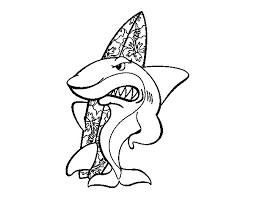 surfer shark coloring coloringcrew