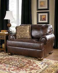 Ashley Furniture Chairs Axiom Traditional Walnut Leather Wood Chair And A Half Living