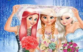 disney princess elsa anna and ariel princesses wedding dress up
