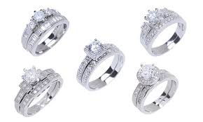 the goods wedding band cubic zirconia wedding band sets groupon goods