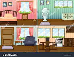 rooms in the house four scenes rooms house illustration stock vector 367585640