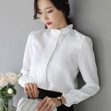 business casual blouses 2018 white casual blouses high neck blusas business