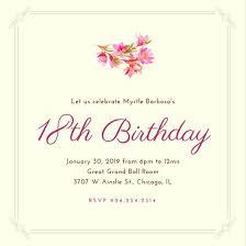 18th birthday invitation templates canva
