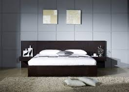 black wooden low bed frame connected with side table also large