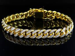 diamond bracelet jewelry images Mens solid 10k yellow gold miami cuban link 9 5 mm diamond jpg