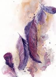purple feather feathers painting original watercolor painting painting of