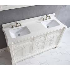 63 inch white finish double sink bathroom vanity cabinet with mirror