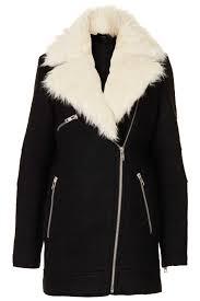 biker coat topshop fur collar textured biker jacket in black lyst