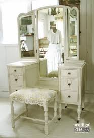 Antique Vanity With Mirror And Bench - trifold vanity transformation a makeover to see antique vanity