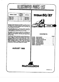 mcculloch titan 50 57 chainsaw parts list