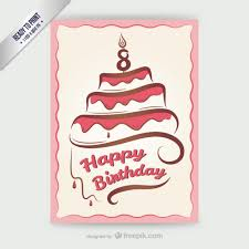 cmyk happy birthday card with cake vector free download