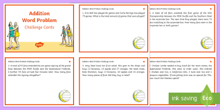 year 3 4 addition word problems maths challenge cards