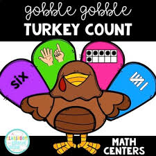 gobble gobble build a turkey turkey count thanksgiving math centers