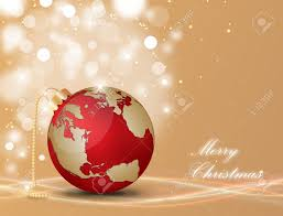Christmas Map Christmas Ball With World Map On A Decorated Background Royalty