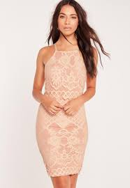 lace strappy layer midi dress pink missguided