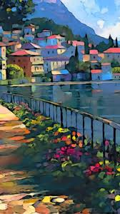 summer city italy colorful painting aqua bright android wallpaper