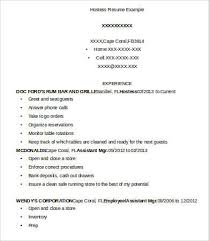 hostess resume exles hostess resume template 9 free word pdf documents