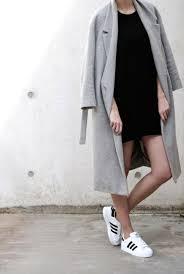 short dress long coat and trainers minimal classy pinterest