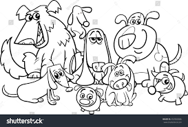 black white cartoon illustration dogs characters stock vector