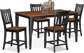 Counter Height Dining Room Furniture Nantucket Counter Height Table And 4 Slat Back Chairs Black And