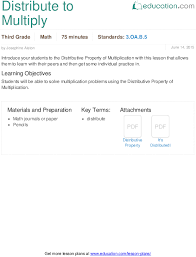 distribute to multiply lesson plan education com