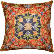 Contemporary Throw Pillows For Sofa by Embroidered Floral Pillows Archives Kashmir Fine Arts
