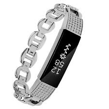 fitbit alta fitness wrist band rhinestone silver steel small wristband band bracelet strap for