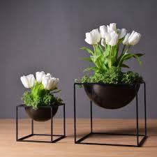jardin interieur design pas cher noir moderne de table étanche cube en métal pot de fleur