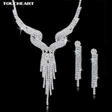 long silver statement necklace images Toucheart wedding jewellery set crystal bridal jewelry sets for jpg