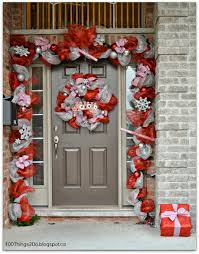 christmas ify your front door with a deco mesh wreath and garland