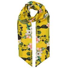 ted baker laurene secret trellis skinny scarf in yellow lyst
