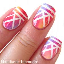 handtastic intentions nail art blended tape mani for tri polish