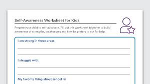 self awareness worksheets for kids