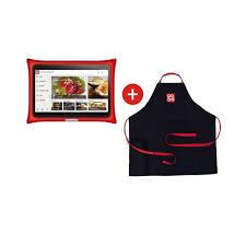 tablette de cuisine qooq tablette qooq tablier pack de recettes ou blanc