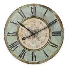 buy distressed blue wall clock from bed bath u0026 beyond